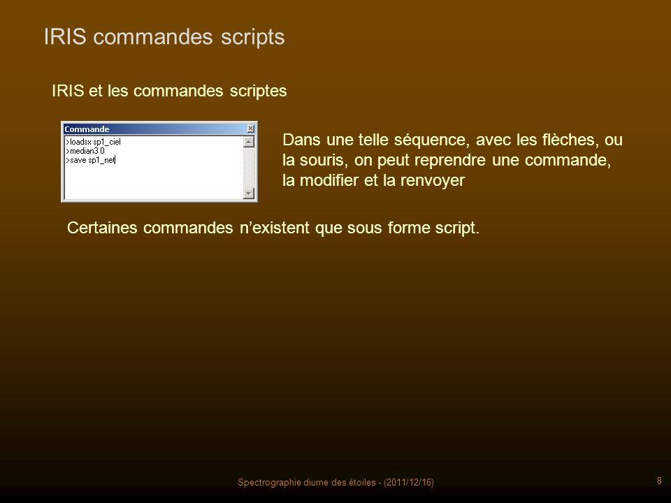 Spectrographie diurne des étoiles - (2011/12/16) 8 IRIS commandes scripts IRIS et les commandes scriptes Dans une telle séquence, avec les flèches, ou la souris, on peut reprendre une commande, la modifier et la renvoyer Certaines commandes nexistent que sous forme script.
