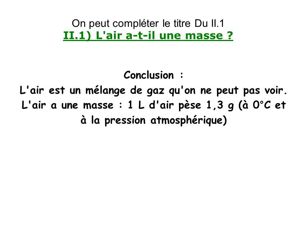 Conclusion : L'air est un mélange de gaz qu'on ne peut pas voir. L'air a une masse : 1 L d'air pèse 1,3 g (à 0°C et à la pression atmosphérique) On pe