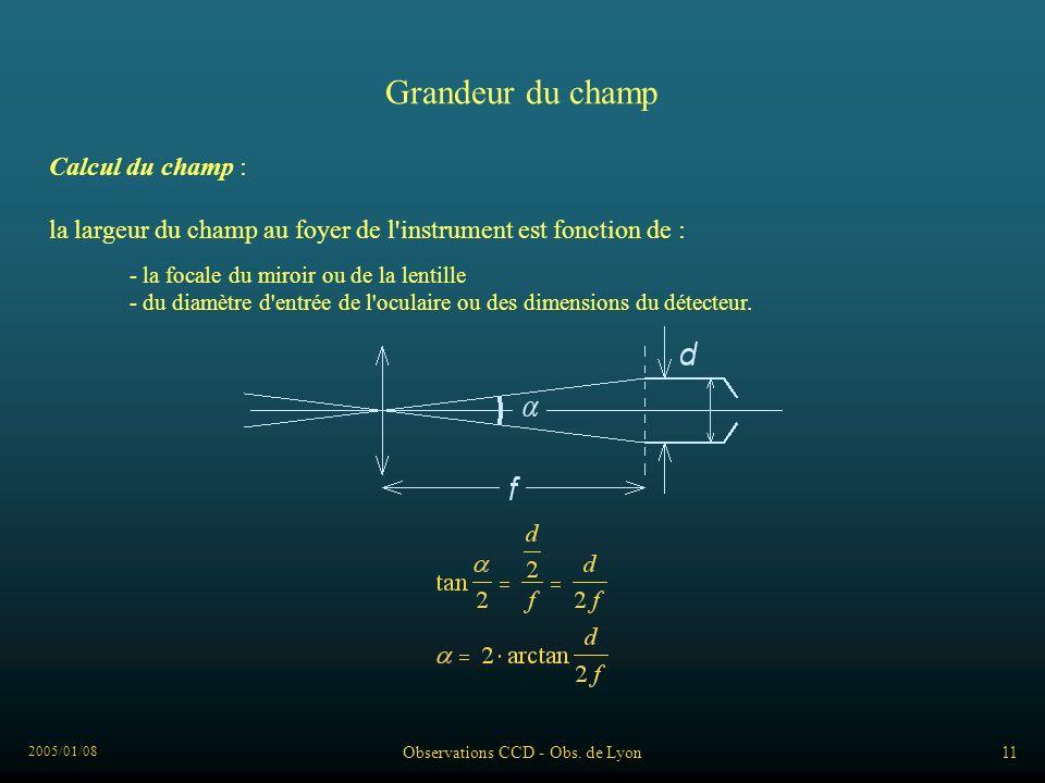 2005/01/08 Observations CCD - Obs. de Lyon11 Grandeur du champ Calcul du champ : la largeur du champ au foyer de l'instrument est fonction de : - la f