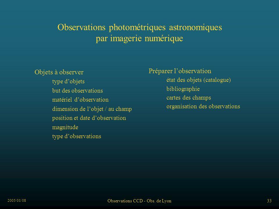 2005/01/08 Observations CCD - Obs. de Lyon33 Observations photométriques astronomiques par imagerie numérique Objets à observer dimension de lobjet /