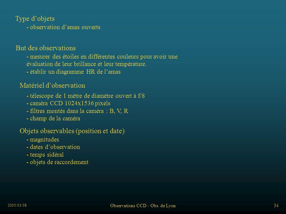 2005/01/08 Observations CCD - Obs. de Lyon34 Type dobjets - observation damas ouverts But des observations - mesurer des étoiles en différentes couleu