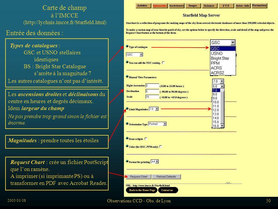 2005/01/08 Observations CCD - Obs. de Lyon50 Carte de champ à lIMCCE (http://lychnis.imcce.fr/Starfield.html) Entrée des données : Types de catalogues