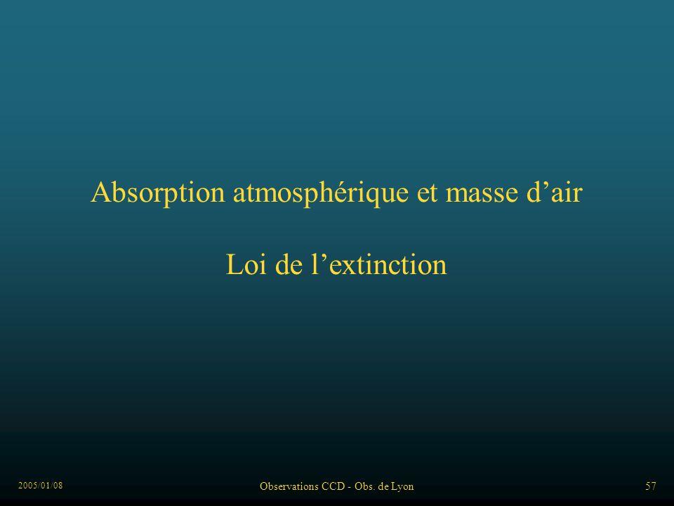 2005/01/08 Observations CCD - Obs. de Lyon57 Absorption atmosphérique et masse dair Loi de lextinction