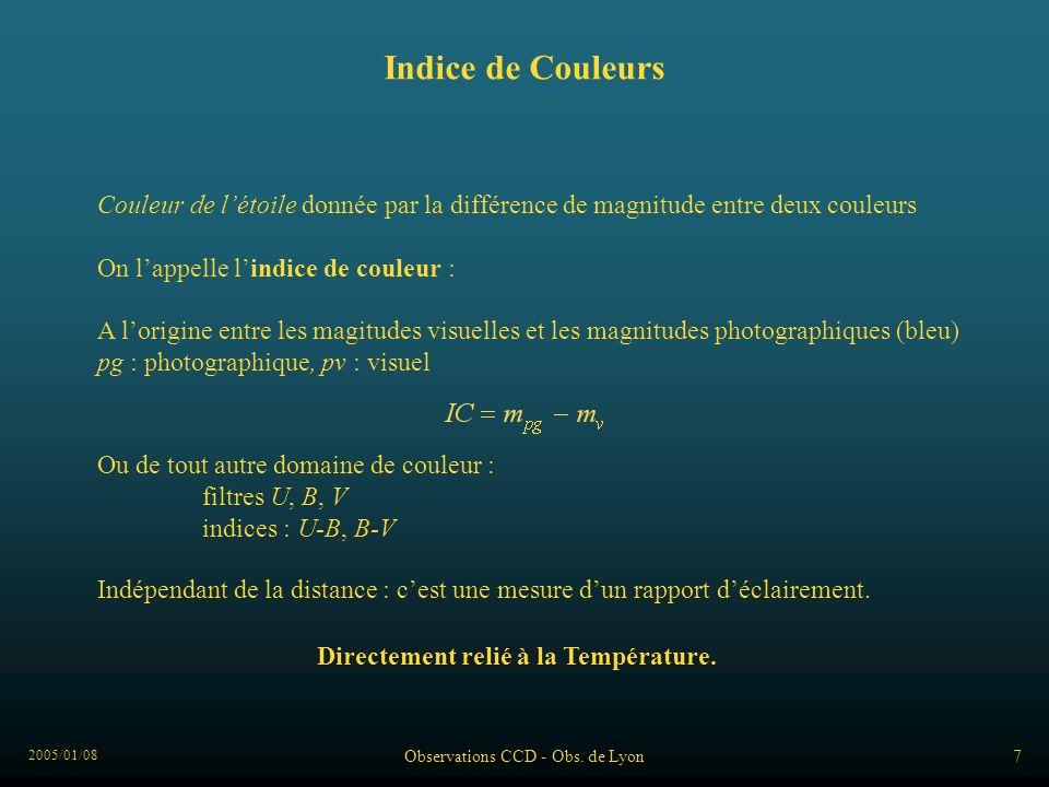 2005/01/08 Observations CCD - Obs. de Lyon7 Indice de Couleurs Couleur de létoile donnée par la différence de magnitude entre deux couleurs On lappell