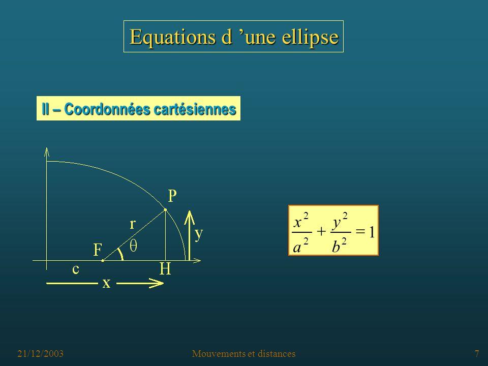 21/12/2003Mouvements et distances6 Equations d une ellipse I – Coordonnées polaires Le point M est repéré à partir de l origine F par sa distance r (FM) et l angle (AFM) B A B F F M A r