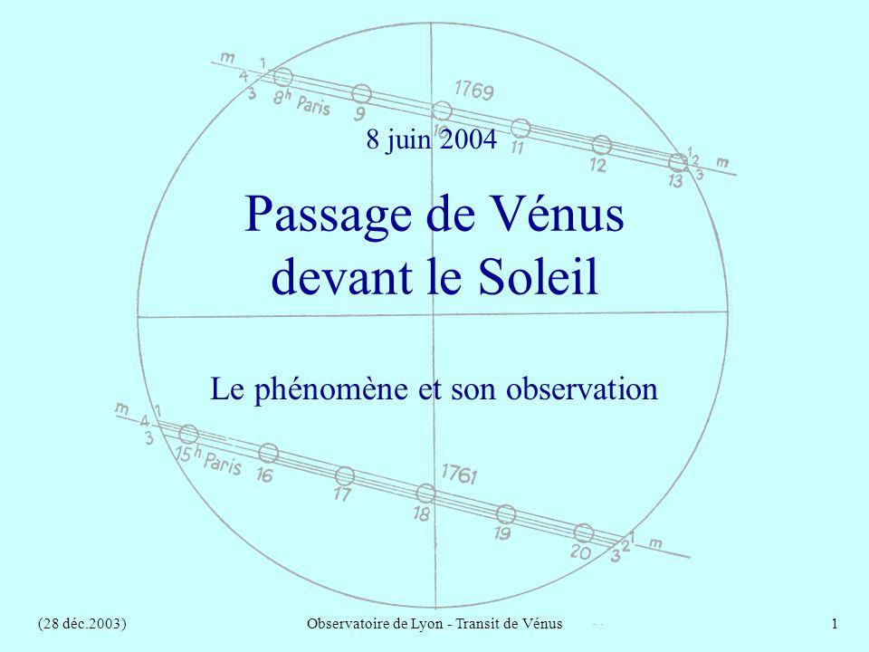 (28 déc.2003)Observatoire de Lyon - Transit de Vénus1 Passage de Vénus devant le Soleil Le phénomène et son observation 8 juin 2004