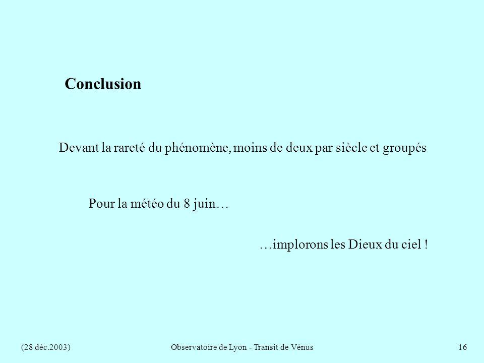 (28 déc.2003)Observatoire de Lyon - Transit de Vénus16 Devant la rareté du phénomène, moins de deux par siècle et groupés Pour la météo du 8 juin… …implorons les Dieux du ciel .