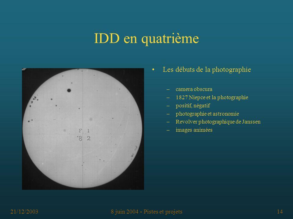 21/12/20038 juin 2004 - Pistes et projets14 IDD en quatrième Les débuts de la photographie –camera obscura –1827 Niepce et la photographie –positif, n
