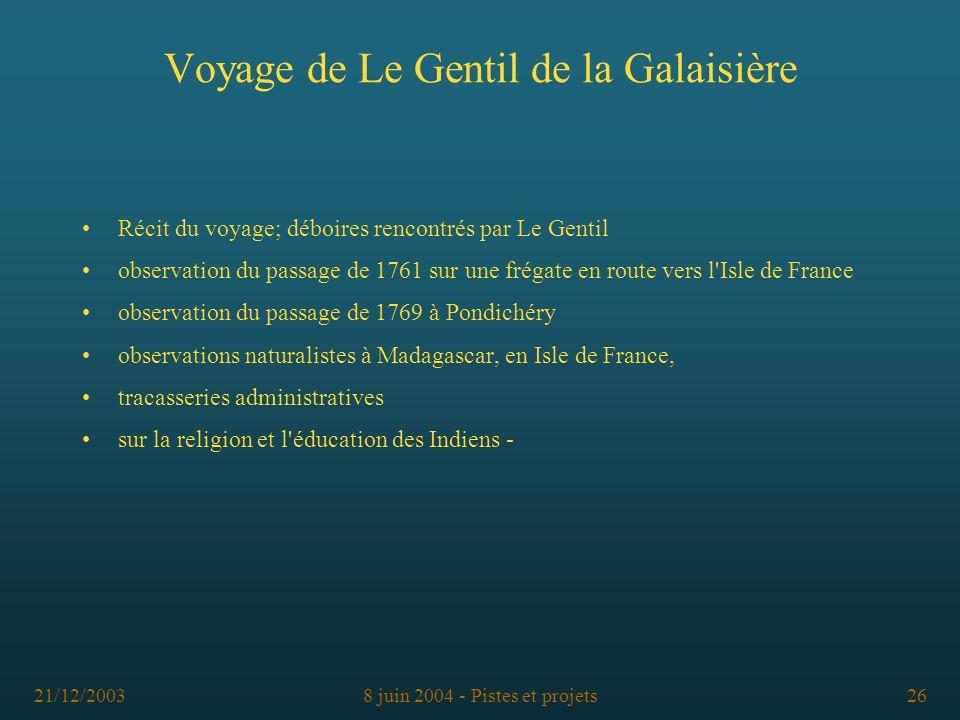 21/12/20038 juin 2004 - Pistes et projets26 Voyage de Le Gentil de la Galaisière Récit du voyage; déboires rencontrés par Le Gentil observation du pas
