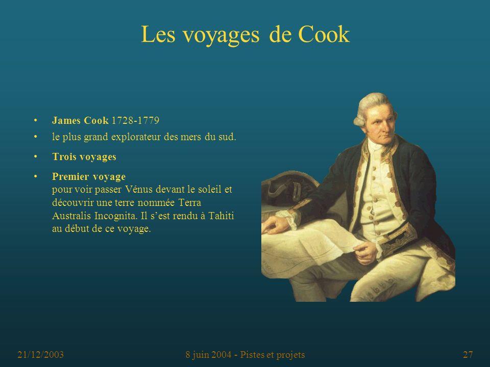 21/12/20038 juin 2004 - Pistes et projets27 Les voyages de Cook James Cook 1728-1779 le plus grand explorateur des mers du sud. Trois voyages Premier