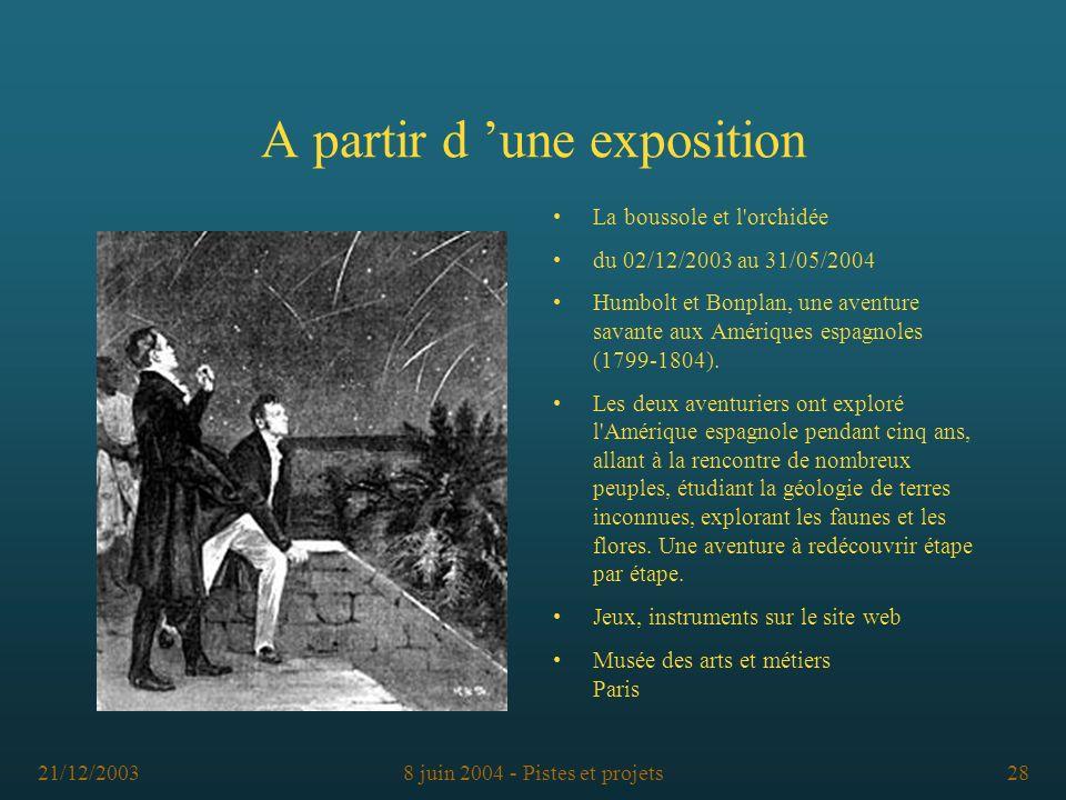 21/12/20038 juin 2004 - Pistes et projets28 A partir d une exposition La boussole et l'orchidée du 02/12/2003 au 31/05/2004 Humbolt et Bonplan, une av