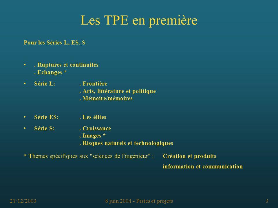 21/12/20038 juin 2004 - Pistes et projets3 Les TPE en première Pour les Séries L, ES, S. Ruptures et continuités. Echanges * Série L:. Frontière. Arts