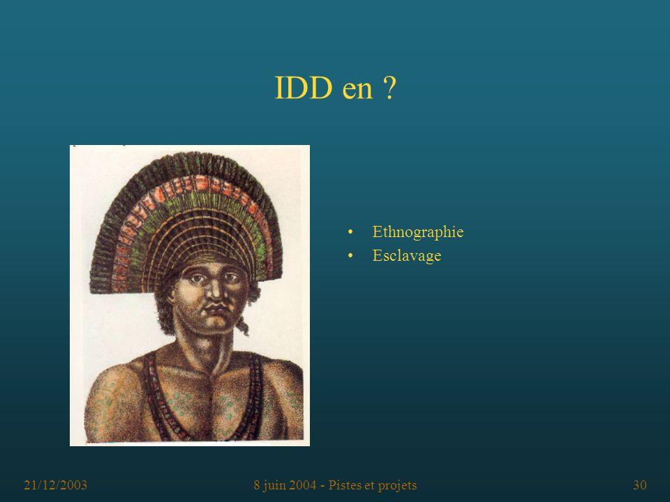 21/12/20038 juin 2004 - Pistes et projets30 IDD en ? Ethnographie Esclavage