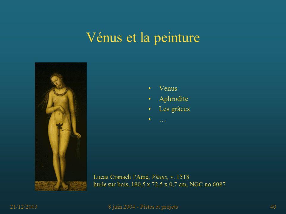 21/12/20038 juin 2004 - Pistes et projets40 Vénus et la peinture Venus Aphrodite Les grâces … Lucas Cranach l'Aîné, Vénus, v. 1518 huile sur bois, 180