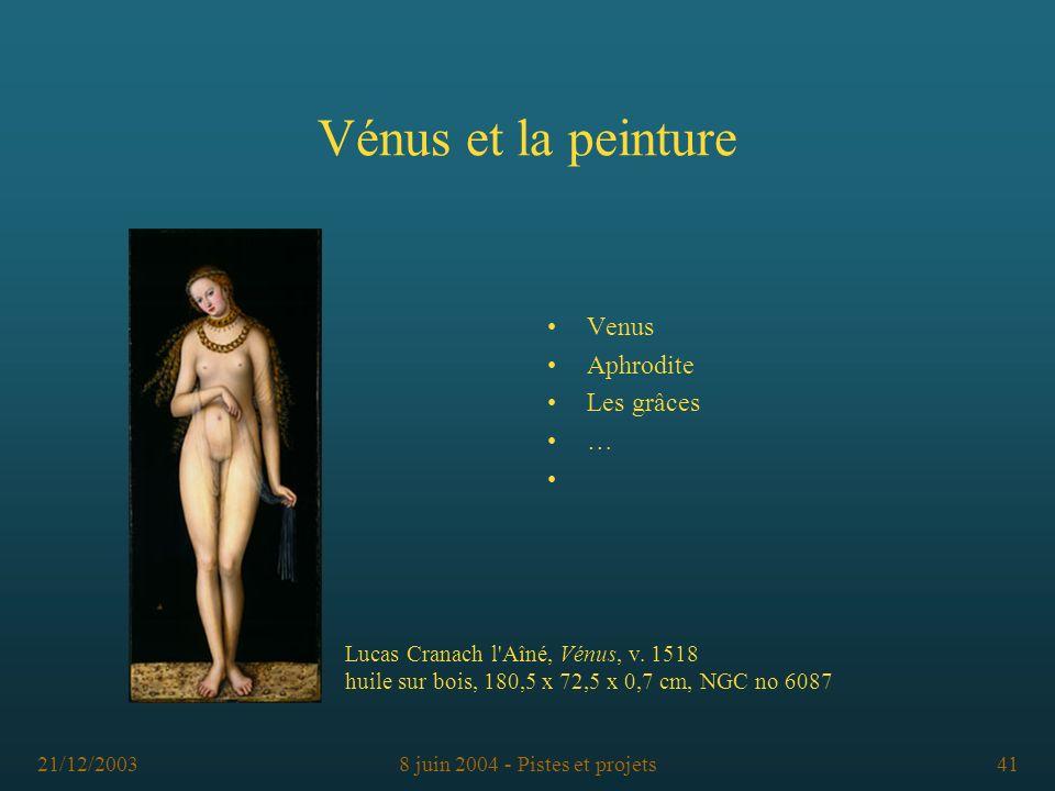 21/12/20038 juin 2004 - Pistes et projets41 Vénus et la peinture Venus Aphrodite Les grâces … Lucas Cranach l'Aîné, Vénus, v. 1518 huile sur bois, 180