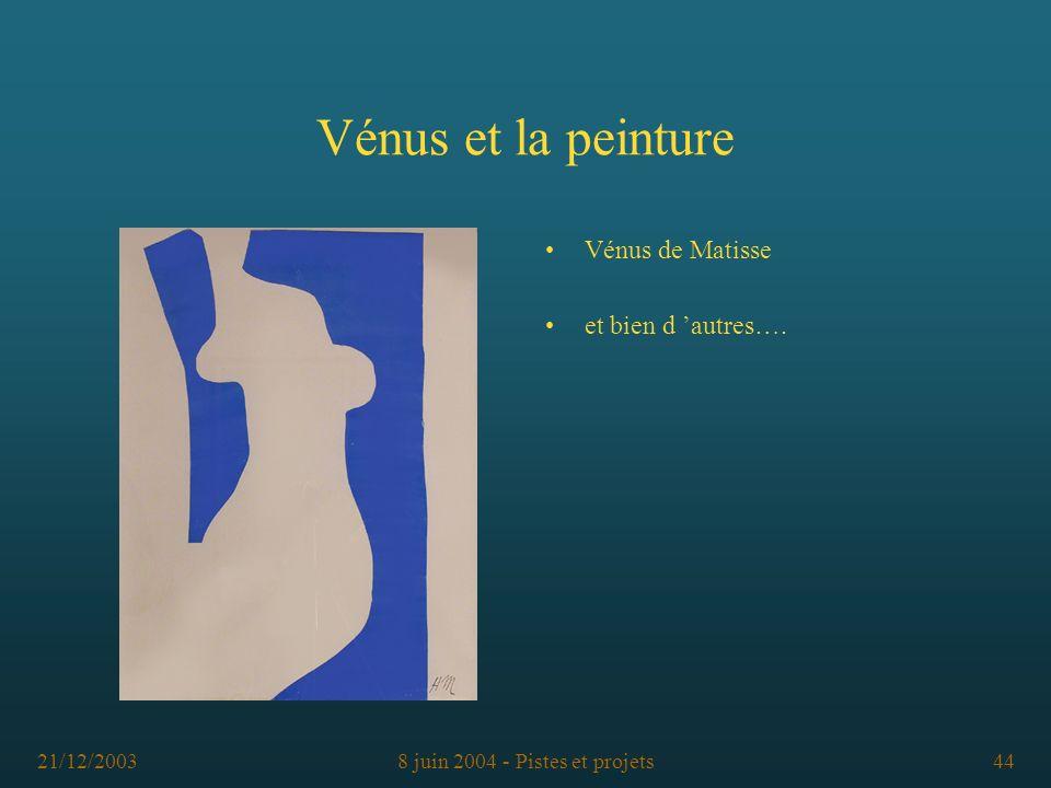 21/12/20038 juin 2004 - Pistes et projets44 Vénus et la peinture Vénus de Matisse et bien d autres….