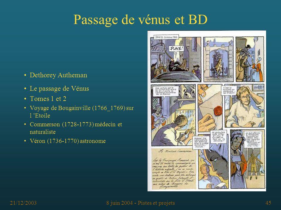 21/12/20038 juin 2004 - Pistes et projets45 Passage de vénus et BD Dethorey Autheman Le passage de Vénus Tomes 1 et 2 Voyage de Bougainville (1766_176