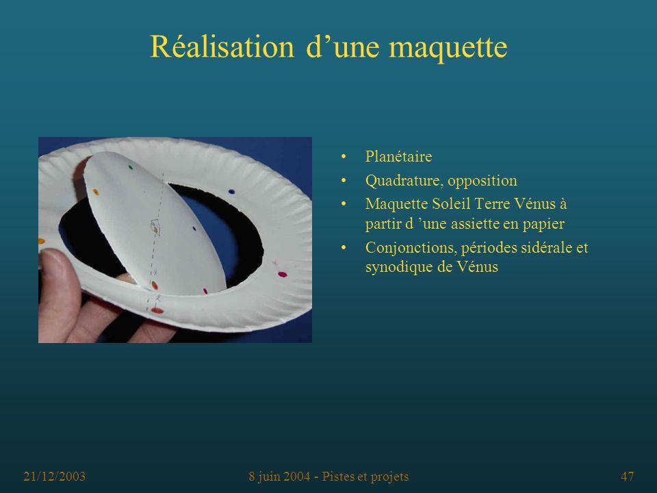 21/12/20038 juin 2004 - Pistes et projets47 Réalisation dune maquette Planétaire Quadrature, opposition Maquette Soleil Terre Vénus à partir d une ass
