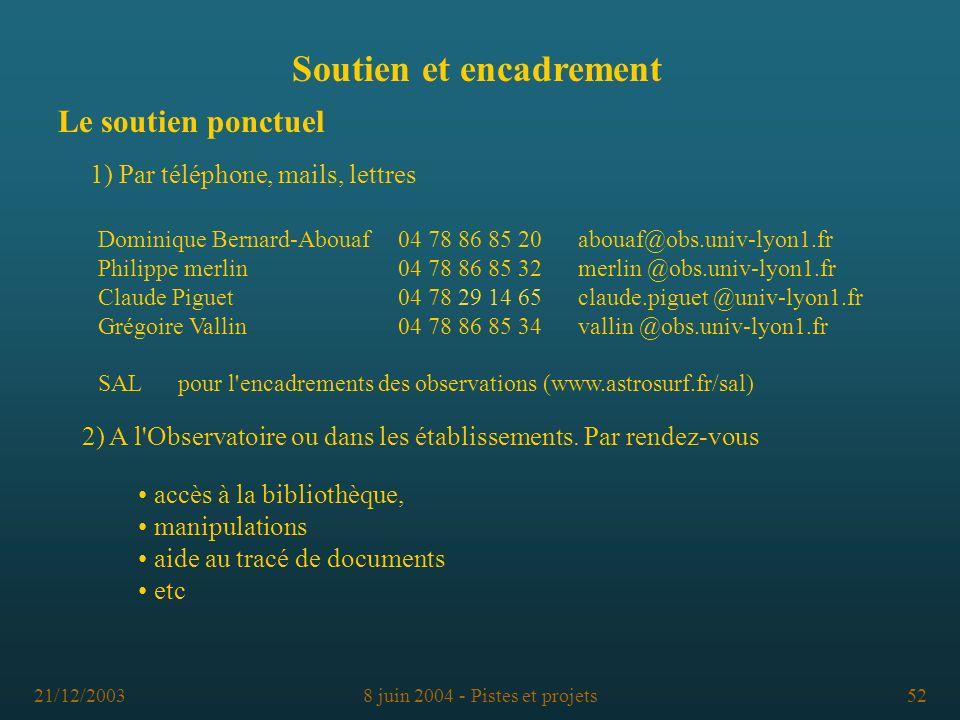 21/12/20038 juin 2004 - Pistes et projets52 Le soutien ponctuel Dominique Bernard-Abouaf04 78 86 85 20abouaf@obs.univ-lyon1.fr Philippe merlin 04 78 8