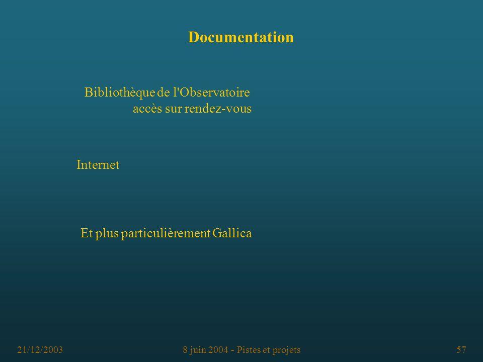 21/12/20038 juin 2004 - Pistes et projets57 Documentation Bibliothèque de l'Observatoire accès sur rendez-vous Internet Et plus particulièrement Galli