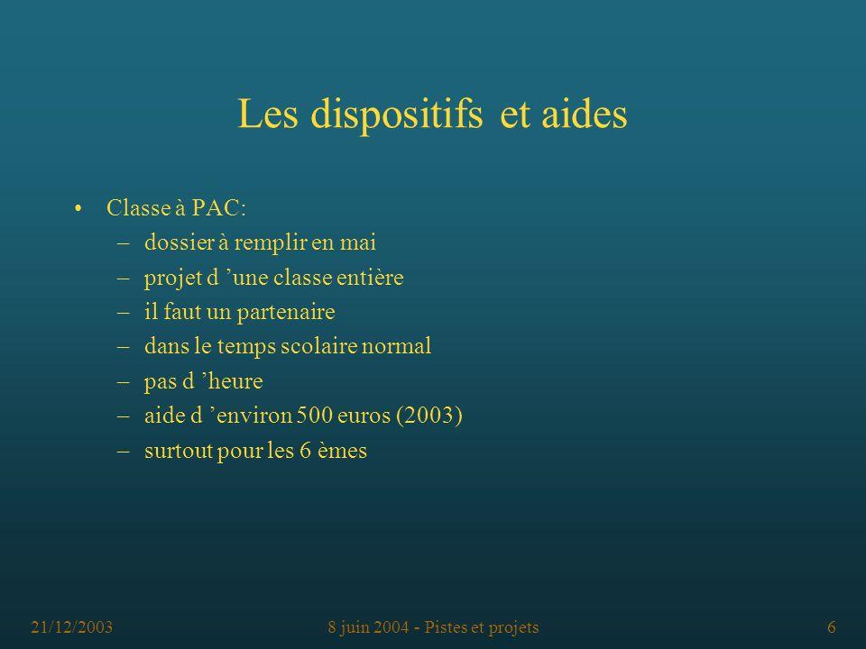 21/12/20038 juin 2004 - Pistes et projets6 Classe à PAC: –dossier à remplir en mai –projet d une classe entière –il faut un partenaire –dans le temps