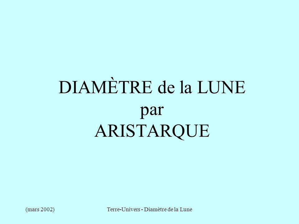 (mars 2002)Terre-Univers - Diamètre de la Lune DIAMÈTRE de la LUNE par ARISTARQUE