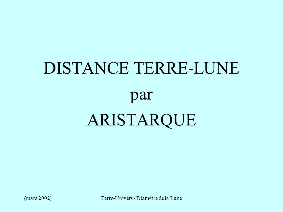(mars 2002)Terre-Univers - Diamètre de la Lune DISTANCE TERRE - LUNE Observation dAristarque : La Lune occupe dans le ciel un angle égal au quinzième dun signe du zodiaque ce qui amène à un diamètre angulaire de 2 degrés.
