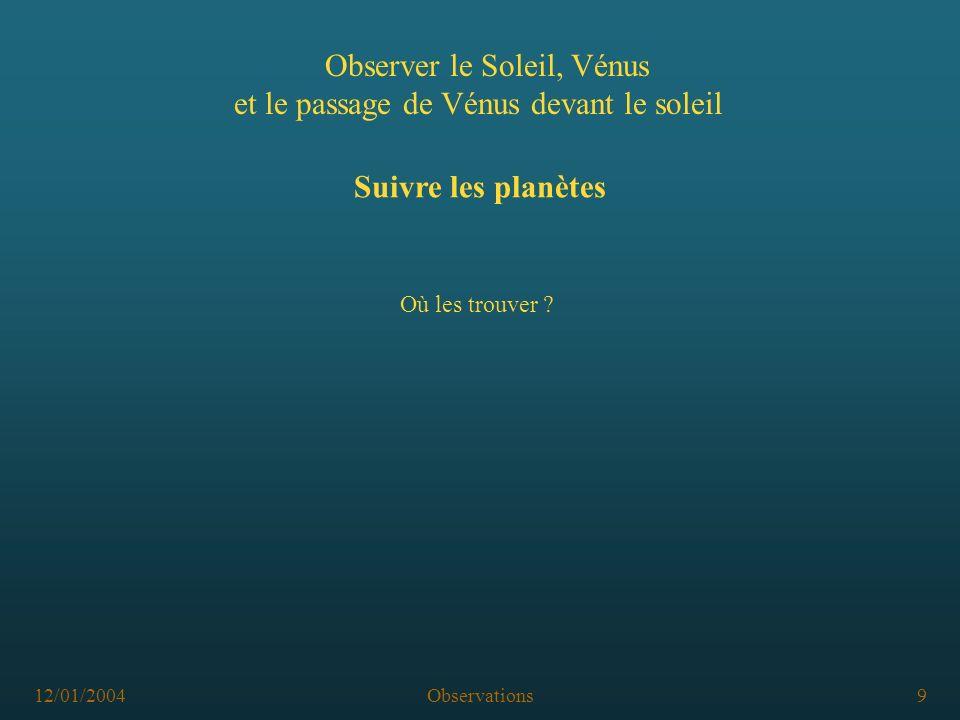 12/01/2004Observations9 Observer le Soleil, Vénus et le passage de Vénus devant le soleil Suivre les planètes Où les trouver ?