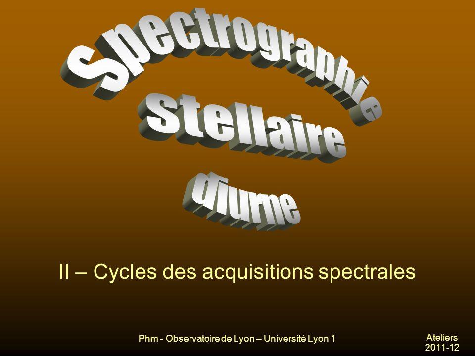 Phm - Observatoire de Lyon – Université Lyon 1 Ateliers 2011-12 II – Cycles des acquisitions spectrales