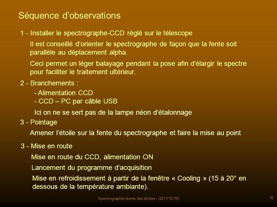 Spectrographie diurne des étoiles - (2011/12/16) 10 Séquence dobservations Mise en route du CCD, alimentation ON 1 - Installer le spectrographe-CCD ré