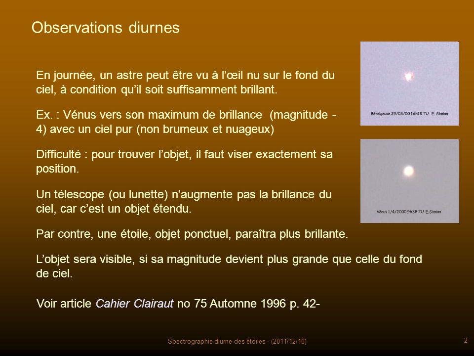 Spectrographie diurne des étoiles - (2011/12/16) 2 Observations diurnes En journée, un astre peut être vu à lœil nu sur le fond du ciel, à condition quil soit suffisamment brillant.