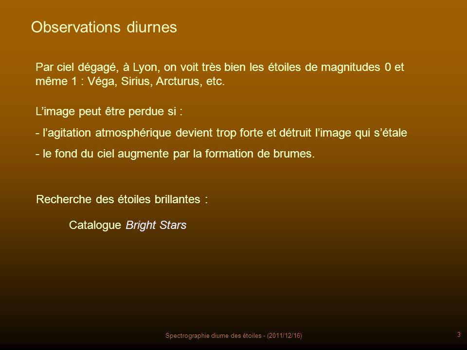 Spectrographie diurne des étoiles - (2011/12/16) 3 Observations diurnes Par ciel dégagé, à Lyon, on voit très bien les étoiles de magnitudes 0 et même 1 : Véga, Sirius, Arcturus, etc.