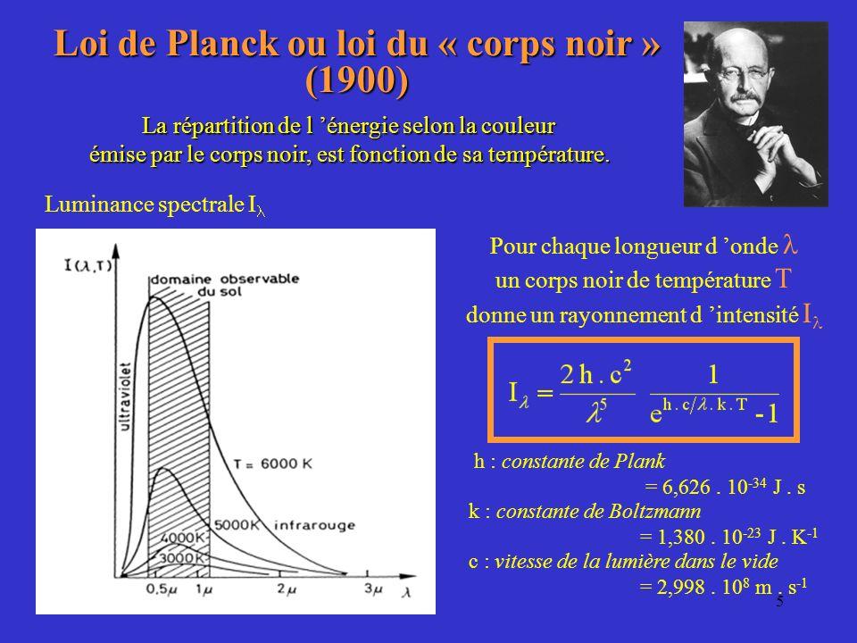 4 Les trois lois du rayonnement Loi de Wien (1893) Loi de Stefan (1879) La puissance totale P rayonnée par un corps noir de surface S, est proportionn
