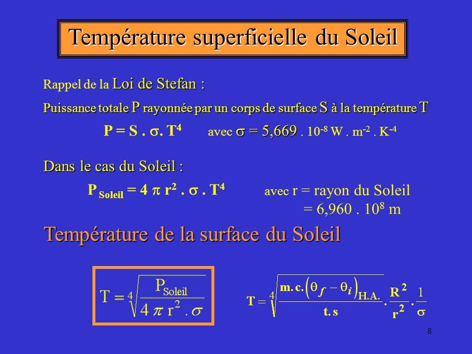 8 Température superficielle du Soleil P Soleil = 4 r 2..