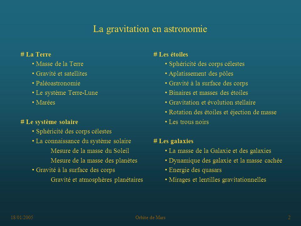 18/01/2005Orbite de Mars2 La gravitation en astronomie # La Terre Masse de la Terre Gravité et satellites Paléoastronomie Le système Terre-Lune Marées