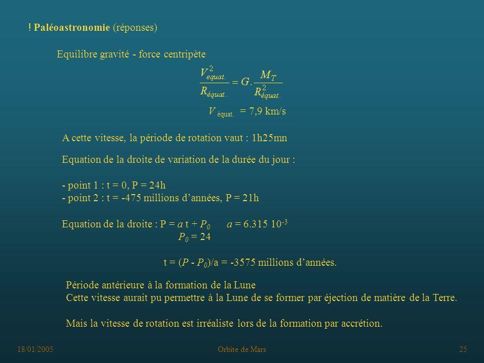 18/01/2005Orbite de Mars25 ! Paléoastronomie (réponses) Equilibre gravité - force centripète V équat. = 7,9 km/s Equation de la droite de variation de
