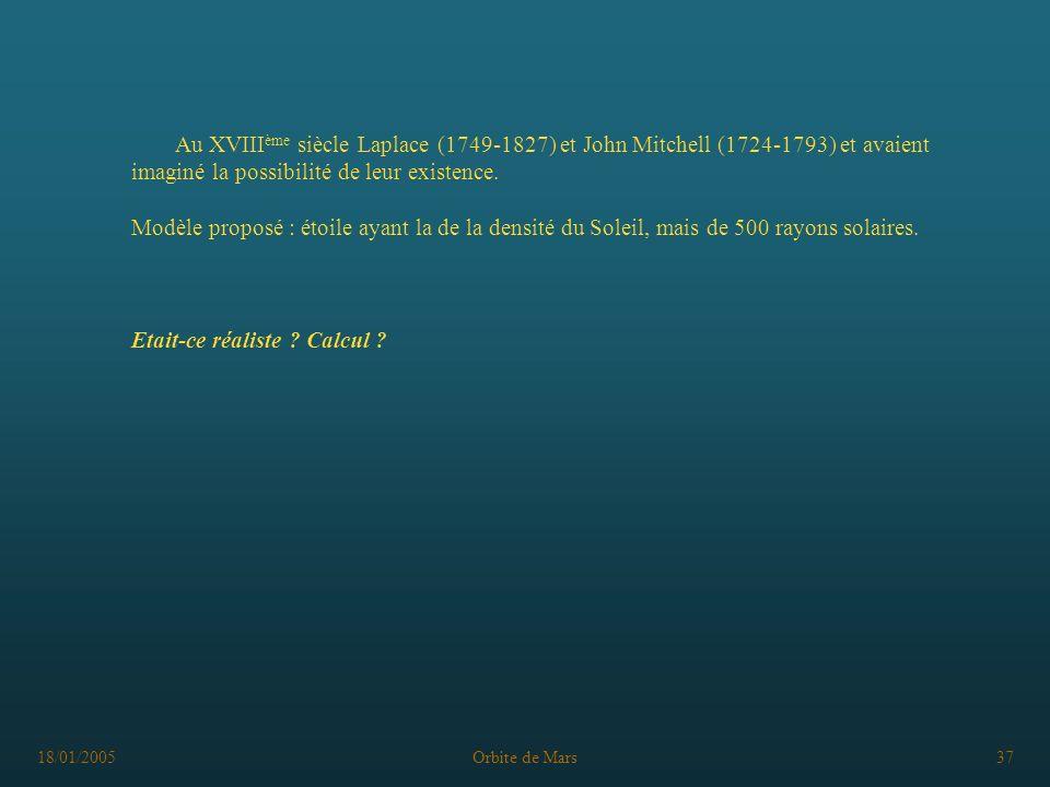 18/01/2005Orbite de Mars37 Au XVIII ème siècle Laplace (1749-1827) et John Mitchell (1724-1793) et avaient imaginé la possibilité de leur existence. M