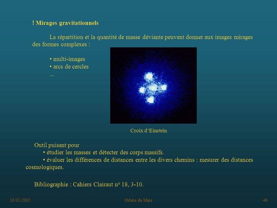 18/01/2005Orbite de Mars46 ! Mirages gravitationnels Croix dEinstein La répartition et la quantité de masse déviante peuvent donner aux images mirages