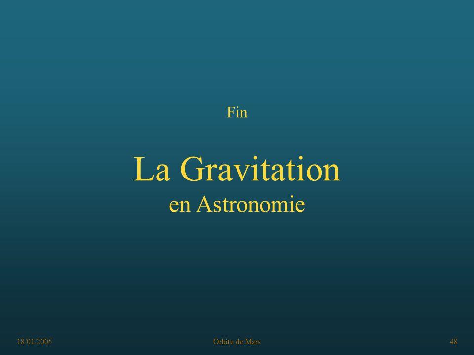 18/01/2005Orbite de Mars48 Fin La Gravitation en Astronomie