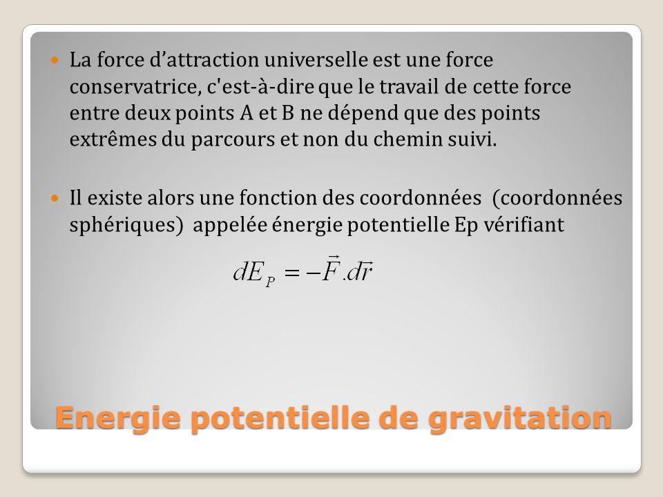 La force dattraction universelle est une force conservatrice, c'est-à-dire que le travail de cette force entre deux points A et B ne dépend que des po