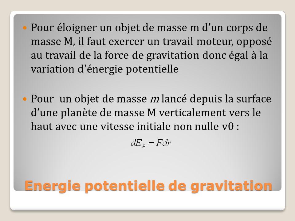 Energie potentielle de gravitation Pour éloigner un objet de masse m dun corps de masse M, il faut exercer un travail moteur, opposé au travail de la