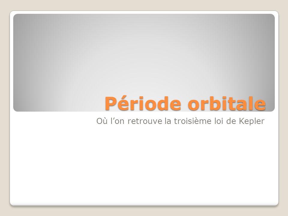 Période orbitale Où lon retrouve la troisième loi de Kepler