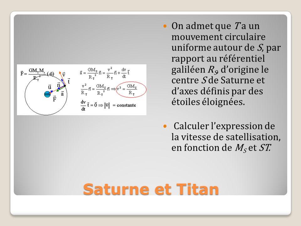 Saturne et Titan On admet que T a un mouvement circulaire uniforme autour de S, par rapport au référentiel galiléen R S, dorigine le centre S de Satur