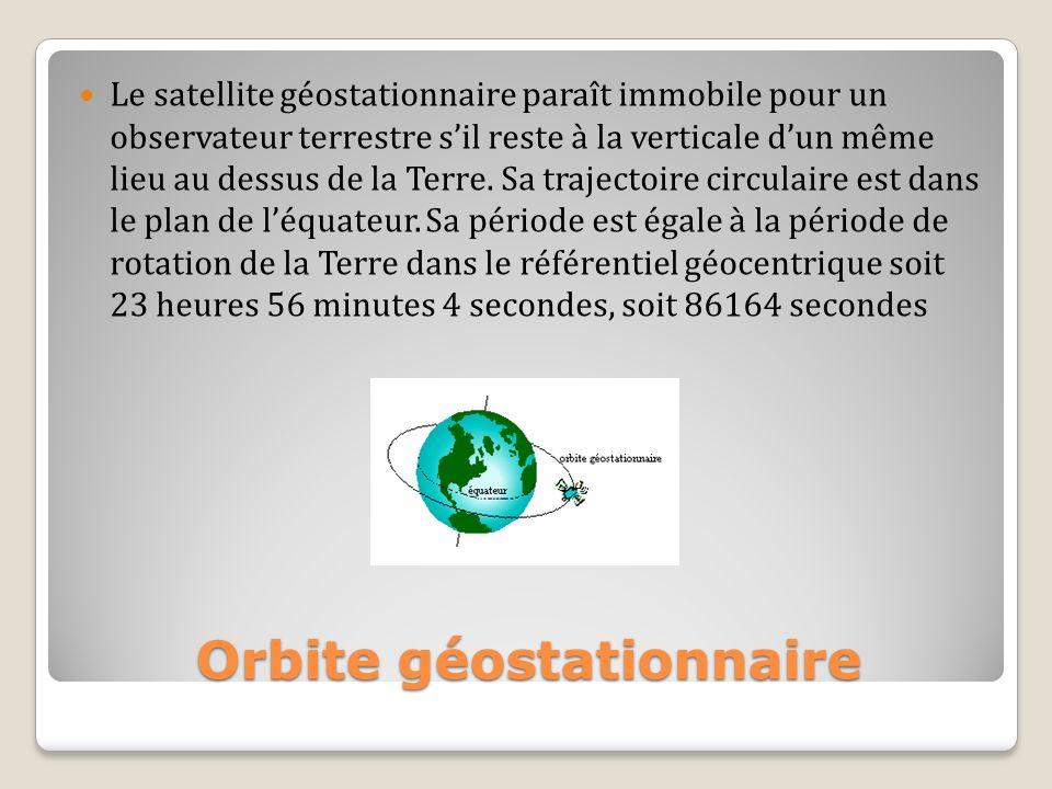 Le satellite géostationnaire paraît immobile pour un observateur terrestre sil reste à la verticale dun même lieu au dessus de la Terre. Sa trajectoir