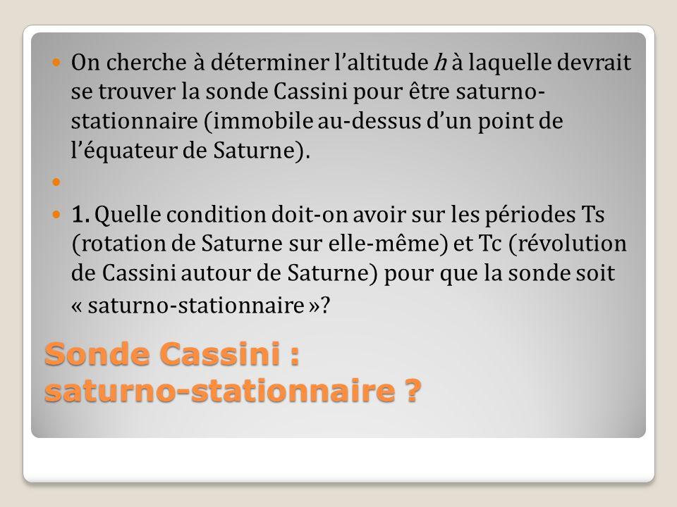 On cherche à déterminer laltitude h à laquelle devrait se trouver la sonde Cassini pour être saturno- stationnaire (immobile au-dessus dun point de lé
