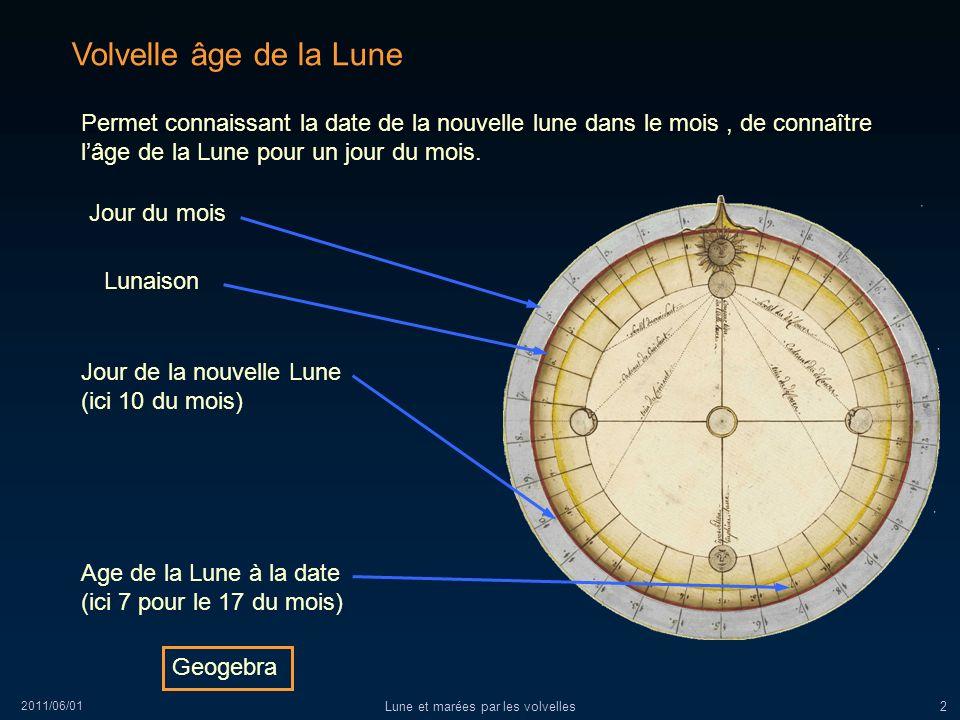 2011/06/01 Lune et marées par les volvelles2 Volvelle âge de la Lune Permet connaissant la date de la nouvelle lune dans le mois, de connaître lâge de