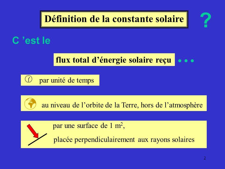1 Constante solaire ou comment mesurer lénergie solaire reçue sur la Terre