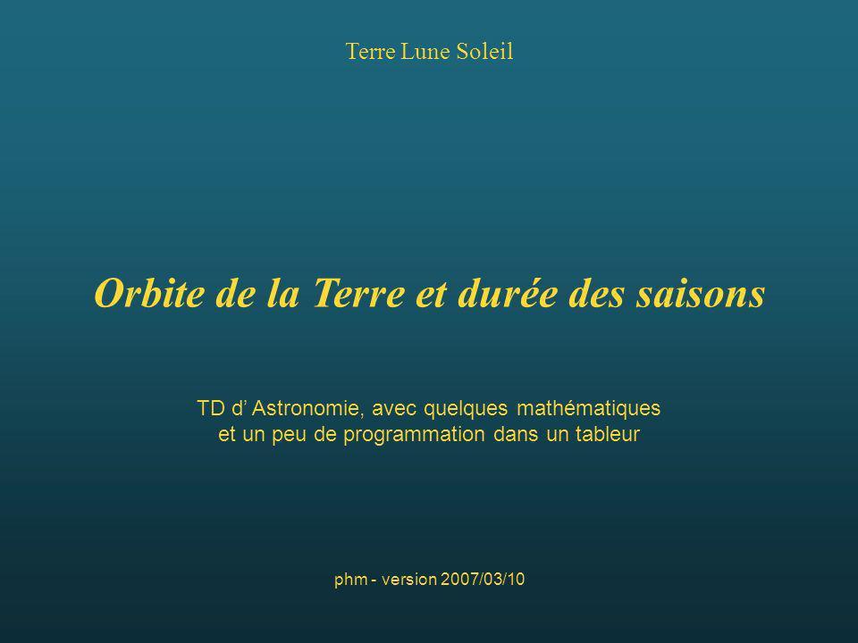 Terre Lune Soleil phm - version 2007/03/10 Orbite de la Terre et durée des saisons TD d Astronomie, avec quelques mathématiques et un peu de programma