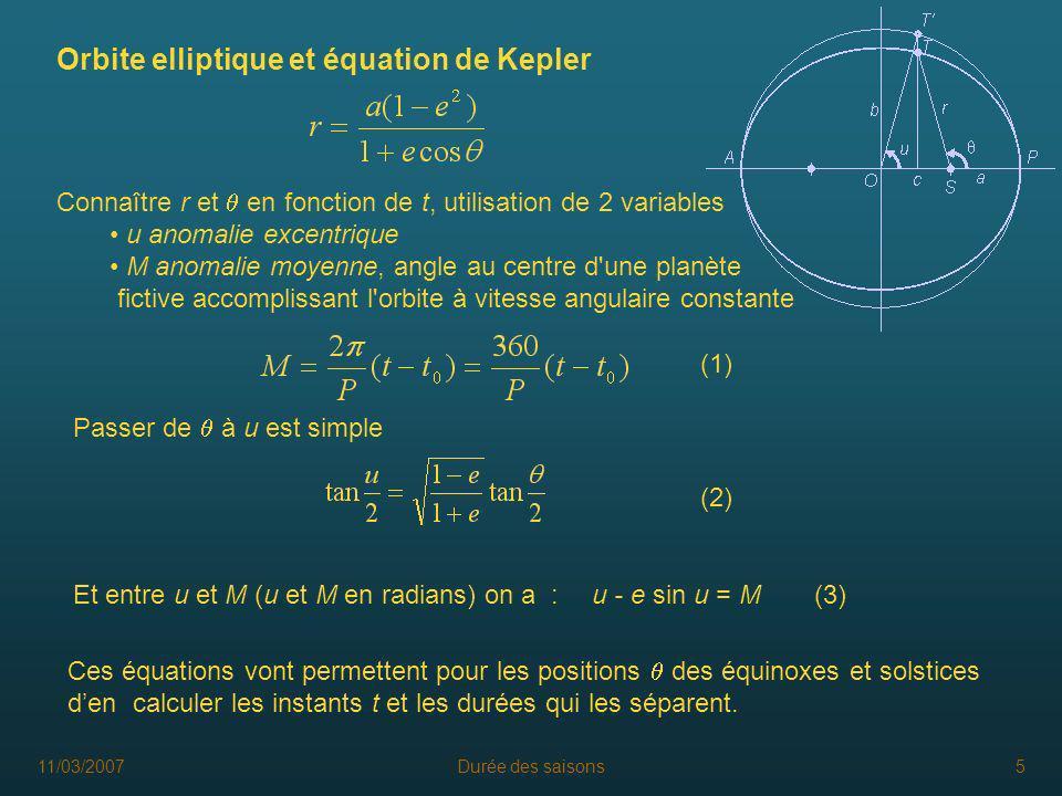 11/03/2007Durée des saisons5 Orbite elliptique et équation de Kepler Connaître r et en fonction de t, utilisation de 2 variables u anomalie excentriqu