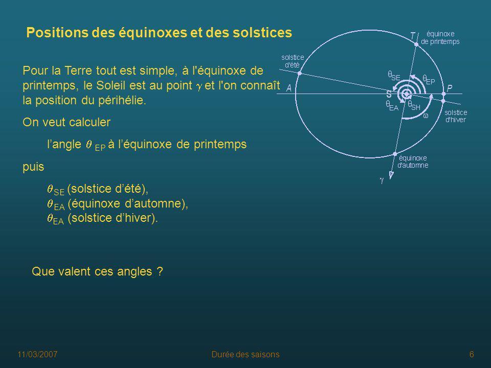 11/03/2007Durée des saisons6 Positions des équinoxes et des solstices Pour la Terre tout est simple, à l'équinoxe de printemps, le Soleil est au point